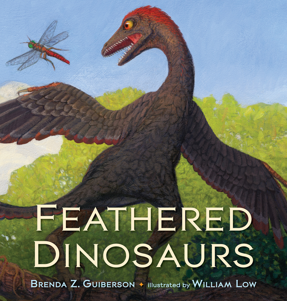 "Cover image of ""Feathered Dinosaurs,"" a picture book by Brenda Z. Guiberson and William Low"